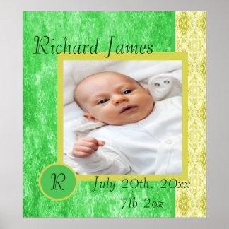 Grönt och gult pojkefödelsemeddelande print