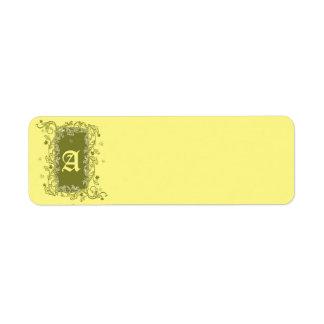 Grönt- och gultetiketter returadress etikett