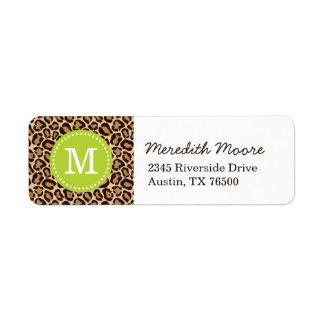 Grönt och Monogram för Leopardtryckanpassningsbar Returadress Etikett