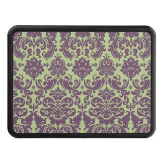 Grönt och purpurfärgat elegantt damastast mönster skydd för dragkrok