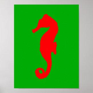 Grönt och röd kust- juldekorSeahorse Poster