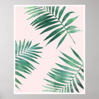 Grönt och rosa botaniskt affischtryck poster
