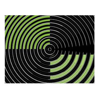 Grönt och svart cirkulärMazemönster för silver Vykort