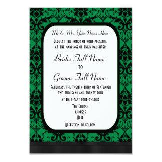 Grönt och svart damastast bröllop 8,9 x 12,7 cm inbjudningskort