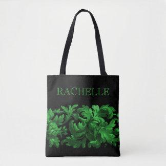 Grönt och svart målad barock gräns med namn tygkasse