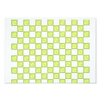 Grönt och vit kontrollerat kort 12,7 x 17,8 cm inbjudningskort