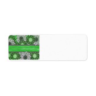 Grönt- och vitblommor returadress etikett
