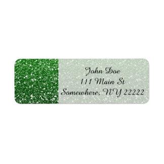 Grönt Ombre glitter verkställer Returadress Etikett