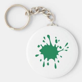 Grönt paintballstänk rund nyckelring