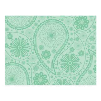 Grönt paisley för Mint mönster Vykort