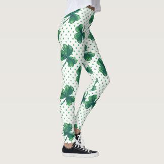 Grönt polka dotsmönster för klöver | leggings