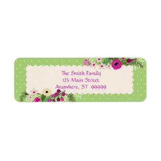 Grönt/purpurfärgad/rosa blommigt returadress etikett
