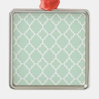 Grönt Quatrefoil för Mint marockanskt mönster Silverfärgad Fyrkantigt Julgransprydnad