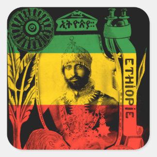 Grönt Rasta för guld för Haile Selassie Fyrkantigt Klistermärke