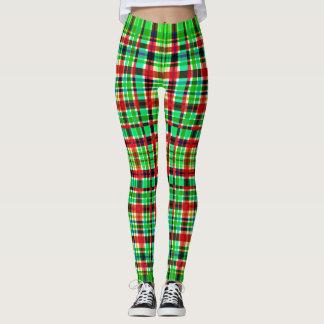 Grönt & röd rutig damasker leggings