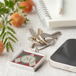 Grönt & rött Argyle plädmönster med monogramen Fyrkantig Silverfärgad Nyckelring