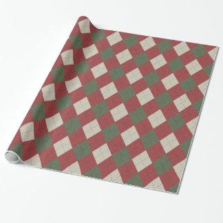 Grönt & rött festligt Argyle plädmönster Presentpapper