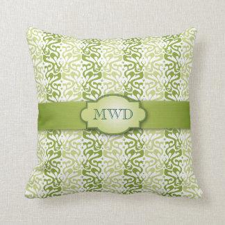 Grönt satt band mönsterMonogram Kudde