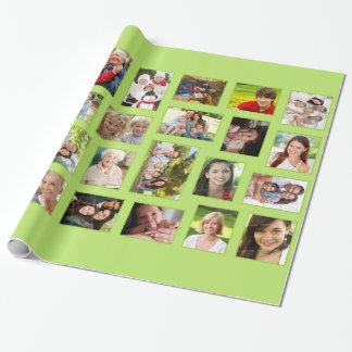 Grönt slående in papper för beställnings- foto presentpapper