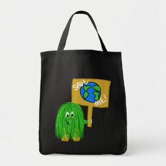 Grönt spara mig tote bags