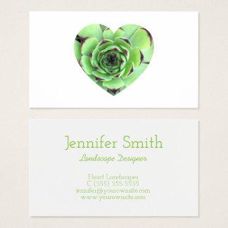Grönt suckulent hjärtaShapefoto Visitkort