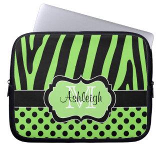 Grönt svart fodral för zebra ränderpolka dotsbärba laptopfodral