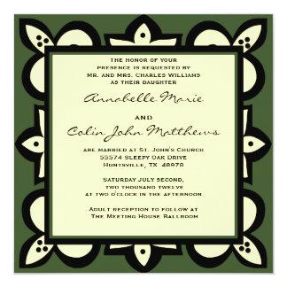 Grönt, svart och beige bröllopinbjudan fyrkantigt 13,3 cm inbjudningskort