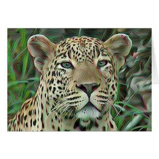 Grönt synad Leopard Hälsningskort