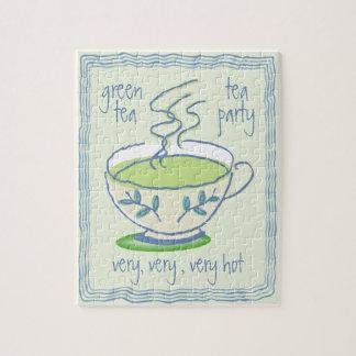 Grönt Teapartypussel Jigsaw Puzzle