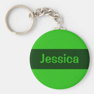 grönt tillfogar ditt namn rund nyckelring