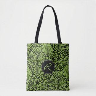 Grönt tropiskt damastast mönster med monogramen tygkasse