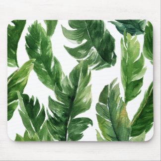 Grönt tropiskt lövmönster för vattenfärg musmatta