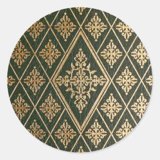 Grönt utföra i relief mönster för läder guld runt klistermärke