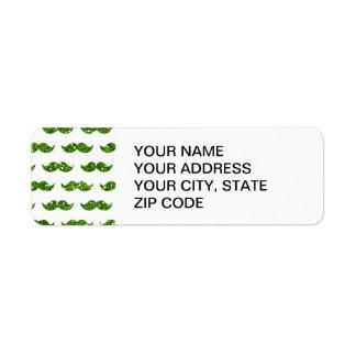 Grönt utskrivavet glittermustaschmönster returadress etikett