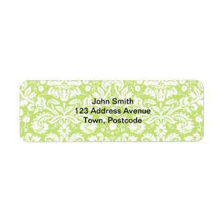 Grönt utsmyckat damastast mönster returadress etikett