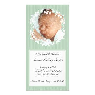 Grönt utsmyckat nyfödd bebisfotokort fotokort