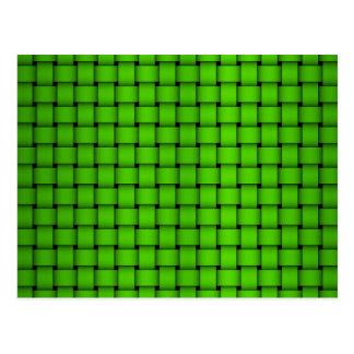 Grönt vävt mönster vykort