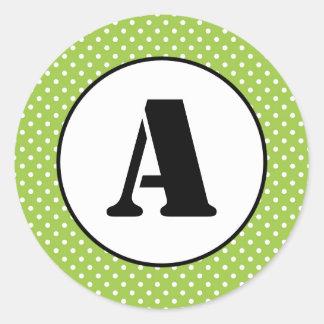 Grönt & vit pricker - cirkla klistermärken
