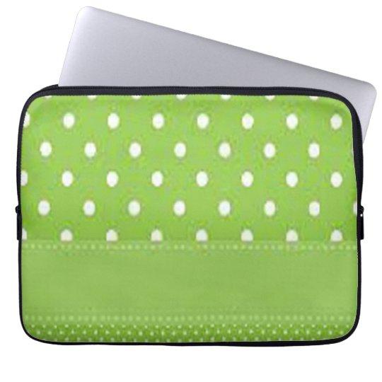 Grönt- & vitpolka dots laptop fodral