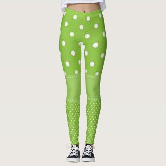 Grönt- & vitpolka dots leggings