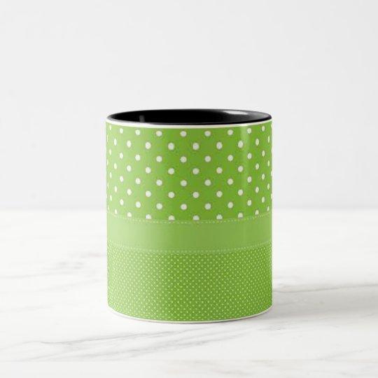 Grönt- & vitpolka dots Två-Tonad mugg
