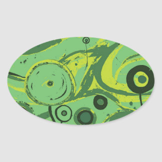 Gröntblommor Ovalt Klistermärke