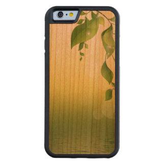 Gröntlöv på det rikliga körsbärsröda Wood fodral