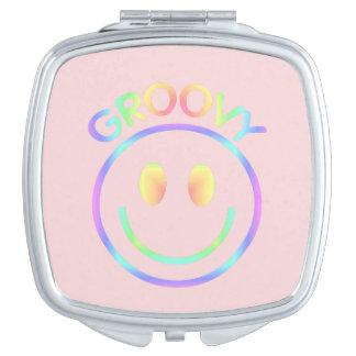 Groovy 70-tal för Retro lycklig regnbåge för smile Kompakt Speglar