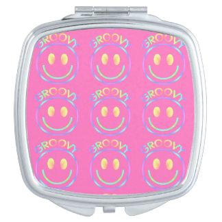 Groovy 70-tal för Retro lycklig regnbåge för smile Kompakt Spegel