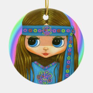 Groovy Hippiechick i den gulliga Julgransprydnad Keramik