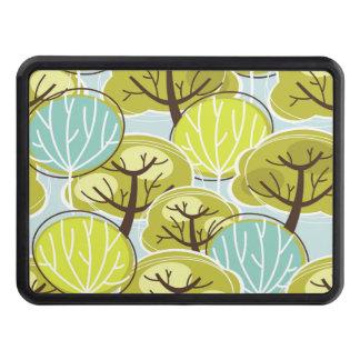 Groovy träddesignblått & grönt skydd för dragkrok