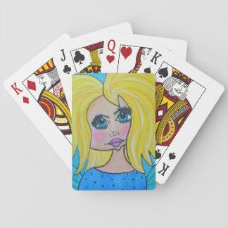 Grottakvinna som leker kort - blondin casinokort