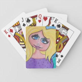 Grottakvinnan - leka kort - blondinen/blått synar spel kort