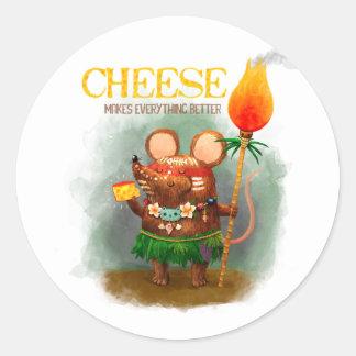Grottamusen älskar ost runt klistermärke